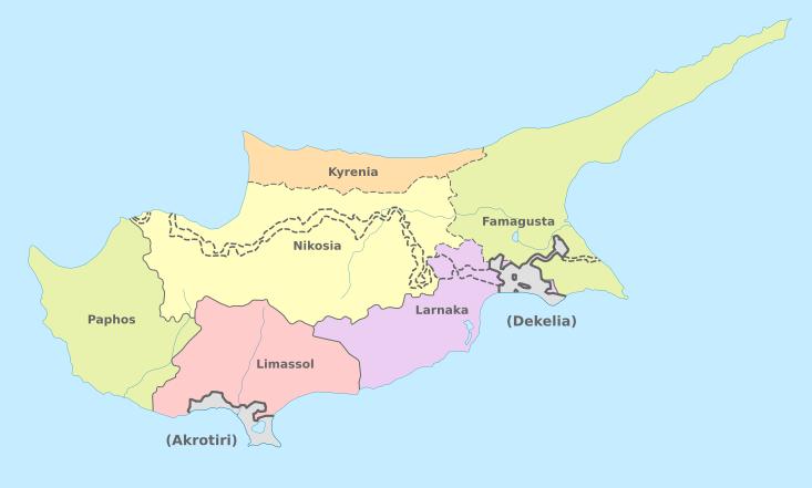 Карта административного деления Кипра