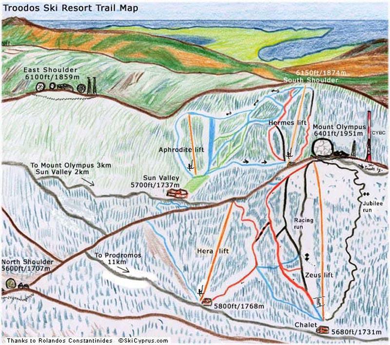 План-схема трасс горнолыжного центра Троодос